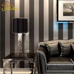 Wholesale Silver Wallpaper Wholesale - Modern Black Wallpaper Vertical Stripes Purple And Silver Glitter Mural Wall Covering Roll For Living room Bedroom Wall Decor