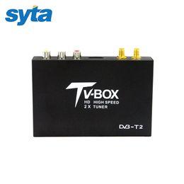 Wholesale Digital Mpeg4 Tv Receiver Usb - SYTA New Car DVB-T2 Mobile Digital TV Box External USB DVB-T2 Car MPEG2 MPEG4 TV Receiver With Great Antenna For Russian Market