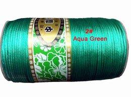 Wholesale 2mm Nylon Satin Rattail - 2mm Aqua Green Nylon Cord Jewelry Findings Accessories Rattail Satin+350m roll Macrame Rope Shamballa Bracelet Beading Thread Cords