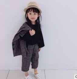 Wholesale Vintage Boys Clothing - Kids Suits Boys girls plaid Long Sleeve Double-pockets outwear+pants 2pcs sets children Vintage Style Outfits Kids clothing sets G1284