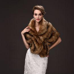 Wholesale Elegant Bridal Wrap - Elegant Faux Fur Bridal Wraps Brown Color Wedding Bridal Wrap Women Shawl For Special Occasion Wedding Shawl Free Size for Winter
