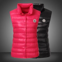 Wholesale Down Vest Xxl - 2017 New Autumn And Winter Women outdoors casual winter goose Down Slim Vest Black Red XS-XXL #220-76