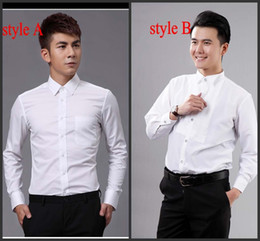Wholesale White Men Prom Shirt - Top Quality Groom Shirts Best Man Shirts Wedding Prom Shirt Standard Size J1