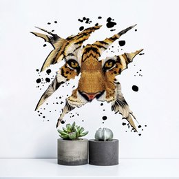 Wholesale Headboard Designs - 2 styles Growling Tiger Wall Stickers Bedroom Decorative Animal Vinyl Removable Wall Decal For Headboard Wall Art Pictures