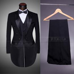 Wholesale Grooms Coat - Wholesale-Custom Brand New cool Groom Tuxedos Men Wedding Dress Bridegroom Suit Best man Suit swallow-tailed coat (Jacket+Pants+tie+vest )