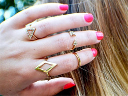 Wholesale Ring Finger Girls - Fashion 5pcs set Mid Midi Above Knuckle Ring Band Gold Silver Tip Finger Stacking Women Party Accessories Girls Above Knuckle Ring Sets