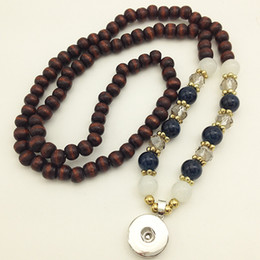 Wholesale Button Wood 18mm - Fashion New wood bead snap button jewelry necklace (fit 18mm 20mm snaps) NC1889 DIY Party dress jewelry Chiristmas