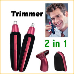 Wholesale Deluxe Clipper In1 - 2 in1 Waterproof Deluxe Red Facial Hair Beard Nose and Ear Trimmer Shaver Groomer Clipper Cleaner