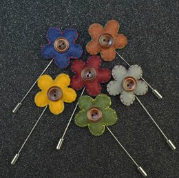 Wholesale Stitch Pins - Men brooch hand-stitching five classic suits flower lapel pin 5cm suit boutonniere fabric yarn pin 15 colors button brooches for wedding