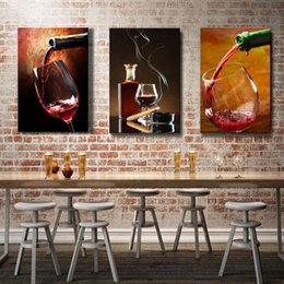 Wholesale Canvas Paintings Wine Glasses - Espritte Art-Large Red Wine Glasses Picture Painting on Canvas Print without Framed, Modern Home Decorations Wall Art Canvas Oil Paintings