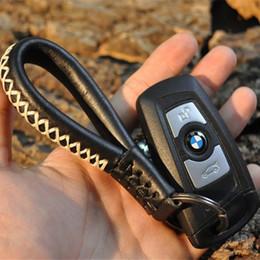 Wholesale Leather Handmade Key Ring - Retro Handmade Car Key Ring Leather Keychain Car Styling Universal 2016 New