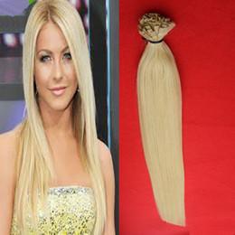 queratina plana Rebajas Extensiones de cabello de punta plana Fusion Keratin Nail Tip Extensiones de cabello Blonde Brazilian Hair 100g