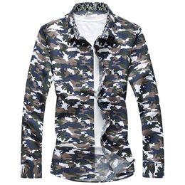 Wholesale Mens Designer Shirts Wholesale - Wholesale- 2017 Spring Autumn Fashion Camouflage Men Shirt New Designer Classic High Quality Print Loog Sleeve Shirts Mens Plus Size 7XL