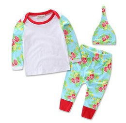 Wholesale Childrens Blouses - Wholesale INS Boys Girls Baby Childrens Clothing Sets Flowers Printed Pullover Blouses Pants Hat 3 Piece Set Jumpers Toddler Infant Clothes