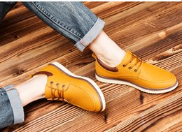 Wholesale Leather Shoes Bulk - Spring men's casual shoes men shoes bulk of tooling leather shoes male lace shoes to help low tide shoes England