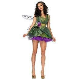 Wholesale Christmas Fairies Elves - 2017 halloween costumes pretty fancy dress costumes for women cosplay Forest Green Elf Halloween Costume Christmas Costume Princess Dress
