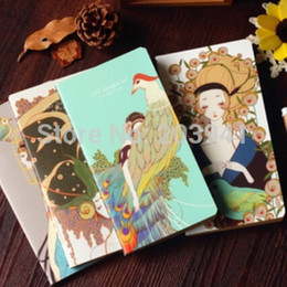 Wholesale Girls Journal - Wholesale- 1pcs lot 90*173mm Vintage Peacock Girl notebook DIY Notepad journal