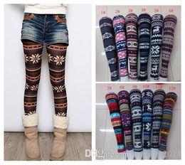 Wholesale Graffiti Legging - 2014 Women Printed Leggings Colorful Snowflake Christmas Deer Graffiti Legging Cashmere Knitted Slim Leggings Tights 300pcs
