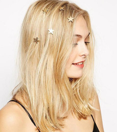 Wholesale Swirl Wedding Hairpins - Women Lady Star Moon Triangle Gold Swirl Spring Hair Clips Hairpin Gift Gold Alloy Hair Head jewellery Barrettes Hair Jewelry Wedding Prom