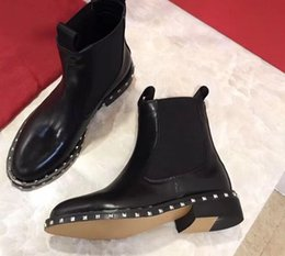 Wholesale Silver Round Stud Rivets - 2018 spring fall Womens black real leather PUNK ROCK Silver studs Rivets trim Round Toes flat heel pull on short ankle Boots