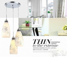 Wholesale Meal Package - Simple modern glass chandelier restaurant. Three flower pendant light meal art. Adjustable height pendant. 5pcs one package