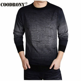 Wholesale Mens Wool Clothing - COODRONY Cashmere Sweater Men Brand Clothing Mens Sweaters Print Hang Pye Casual Shirt Wool Pullover Men Pull O-Neck Dress T 613
