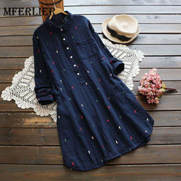 Wholesale girls denim dress winter - Mferlier Mori Girl Autumn Winter Shirt Dress Turn Down Collar Adjustable Long Sleeve Blue White Colorful Dot Embroidery Dress