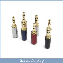 Wholesale Gold Plated Audio Jack - 4pcs lot 3 Pole 3.5mm stereo Plug Male Jack 3.5mm Audio Connector gold plated For 4mm Cable Adapter Free Shipping
