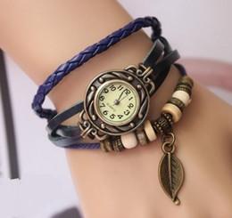 Grüne frauen armband uhren online-Retro Quarz Armbänder Uhren Weave Wrap Around Uhren Leder Armband Uhr Armreif Womens Baum Blatt Grün Mädchen Armbanduhr