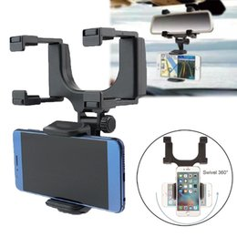 Wholesale View Mounts - ABS Durable Cell Phone Mounts Rear View Mirror Holders Tight Clips Adjustable Mobile Scaffold