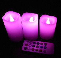 Wholesale Indoor Timers - Wax Flameless LED Candles light With Remote Control Timer 3 Candle Indoor Night Party Light Decor for Wedding birthday Party Christmas