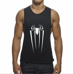Wholesale Color Tank Tops For Men - Men's Fashion Print Sports Fitness Tank Tops For Men Casual Summer Spider Printed Cotton Plus Size Elastic Bodybuilding Gym Vest