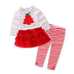 Wholesale Green Lace Leggings Baby - European Boutique New 2016 Christmas lace baby clothes outfits Love T-Shirt + Striped leggings Skirt kids Set lovely children's clothing