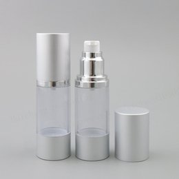 Wholesale Glass Lotion Bottles Pump - 2 x 30ml High Quality 30ml Clear Airless Lotion Pump Bottle With Silver Pump Aluminum Over Cap