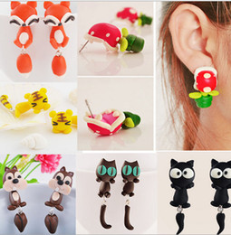 Wholesale Polymer Clay Cute - MIx style Handmade Polymer Clay Animal Stud Earrings Cute cartoon Cat Rabbit Red Fox Lovely Panda Squirrel Tiger Stud Jewelry