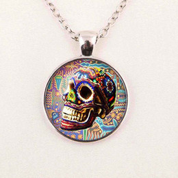 Wholesale Day Dead Skulls - Custom Necklace,Sugar Skull Silver Finish Pendant Necklace,Handmade Long Necklace,Day of The Dead Jewelry