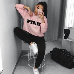 Wholesale Cropped Hoodies Wholesale - Wholesale- 2017 Fashion PINK Printing Hoodies Sweatshirts Jumper Crop Top Coat Crew Neck Women Clothing Loose Short