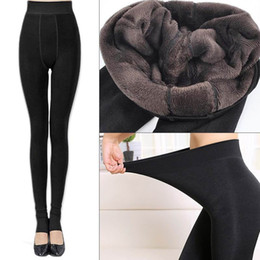 Wholesale Black Stretch Leggings - leggings for women Women Fleece Leggings Thick Winter Warm High Stretch Waist Leggings Skinny Pants