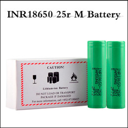 Wholesale Top Vape Mods - Authentic INR18650 25R M Battery 2500mAh 20A Discharge Flat Top Vape Lithium 18650 Battery for Smok Alien G priv RX2 3 mod