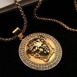 Бриллиантовая подвеска круглая онлайн-хип-хоп панк Медуза золото neckalce для мужчин высокое качество сплава губан цепи круглый тег с бриллиантами кулон ожерелья ювелирные изделия