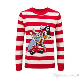 Wholesale Pirate Shirts - pirates LOVE stripe embroidery Winter Casual Sweater Brand Clothing Long Sleeve Mens Sweaters classic Shirt Pullover O-Neck Knitwear
