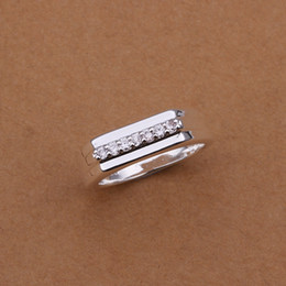 Wholesale Silver 925 Three Stone Rings - Hot Sell!Wholesale Sterling 925 silver ring,925 silver fashion jewelry ring,middle section inlaid stone smooth Rings SMTR233