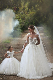 Wholesale Simple Summer Flower Girl Dresses - Cheap Price 2017 Two Pieces Ball Gown Dresses Wedding Little Girls And Women 3D Flowers Puffy Tulle Skirts Vestido Bridal Custom