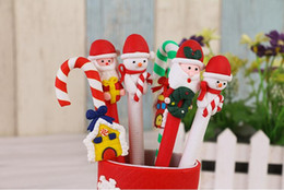 Wholesale Christmas Ball Pens - The new Christmas polymer clay Crutch pen supplies children's Christmas gift Christmas ball pen two style many color very lovely & practical