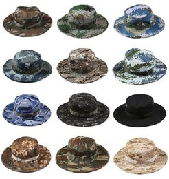 Wholesale cowboy hats for men beach - New Cotton bucket hat for men 2016 Fashion Military Camouflage Camo Fisherman Hats With Wide Brim Sun Fishing Bucket Hat Camping Hunting Hat