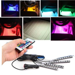 Wholesale Car Light Control - New Wireless Remote Music Voice Control Colorful LED Car Interior Light Strip Decorative Lamp Car-Styling