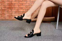 Wholesale Open Loop - high quality ! u600 3 color 34 genuine leather med heel slide sandals 2016 summer casual black red luxury white h