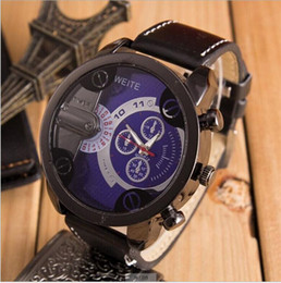 Wholesale Mens Colorful Watches - 2016 Fashion Mens Leather Watches Men Luxury Sports Wristwatch Watches Famous Brand Colorful Quartz Watch for Men