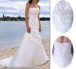 Wholesale Lace Bridal Gowns Size 22 - New Embroidered Pleat Lace Up A-Line White Ivory Organza Summer Beach Wedding Dress Bridal Gown Custom Size 2 4 6 8 10 12 14 16 18 20 22 24