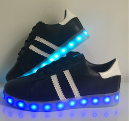 Wholesale Ghost Usb - 7 colour lovers shine shoes USB charging ghost dance step LED luminous breathable luminous shoes sneakers men and women